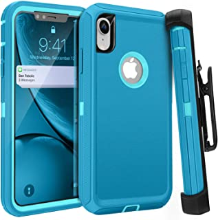 iPhone XR Case, Styqeen Full Body Heavy Duty Dust-Proof Shockproof Protective Cover and Belt Clip Holster with Kickstand for Apple iPhone XR [6.1 inch] (Blue)