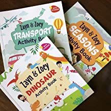 Zayn and Zoey Activity Books Set of 3 books (Transport, Seasons, Dinosaurs) - Variety of fun activities for kids - With st...