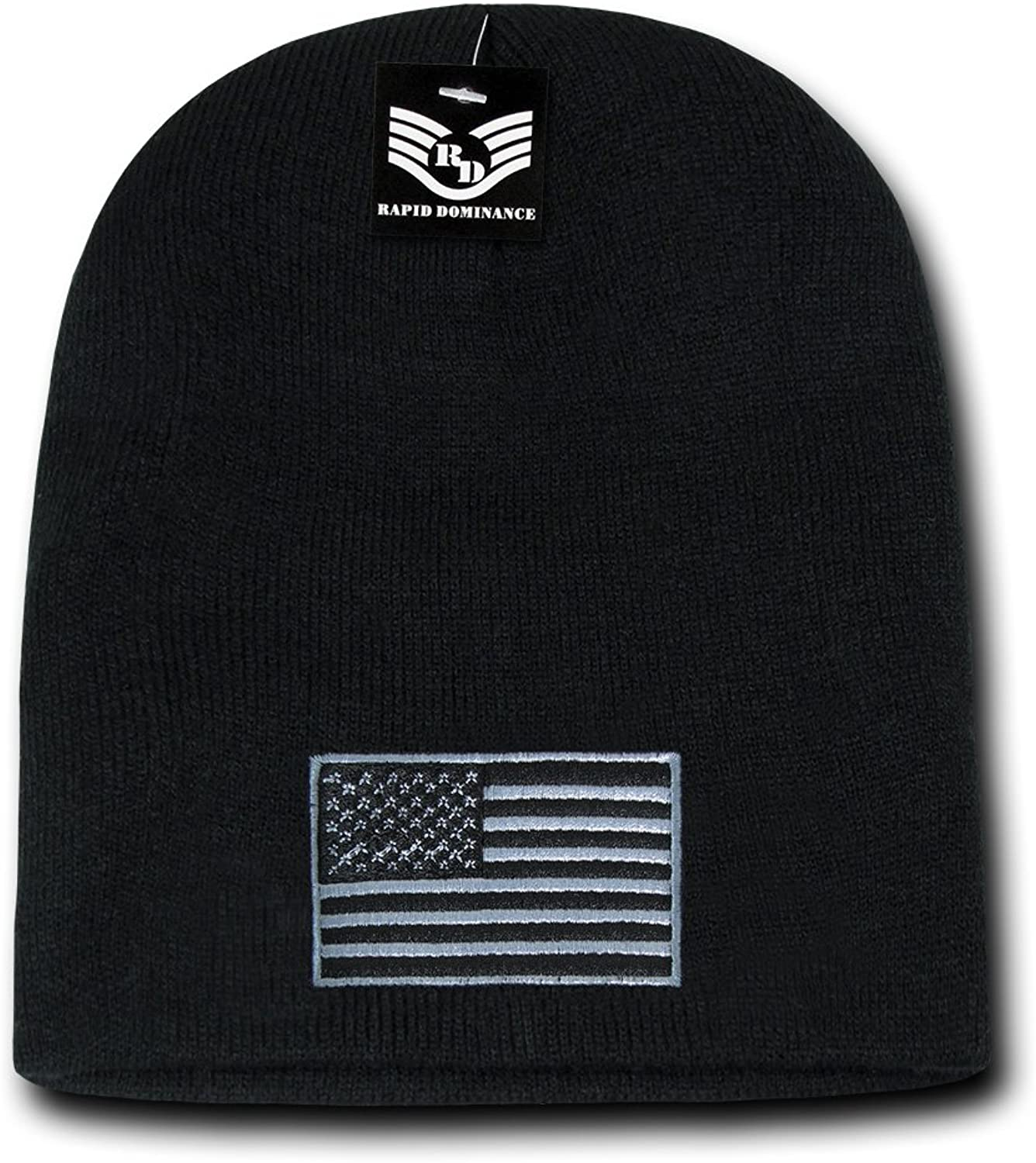 Rapid Dominance USA Subdued Grey American Flag Embroidered Short Beanie Hat