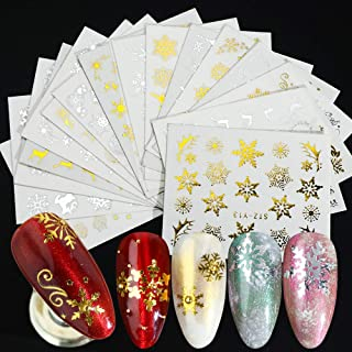 16pcs/Set Gold Silver Snowflakes Nail Stickers Water Decals Christmas Nail Art Decorations 3D Charms Designs Manicure