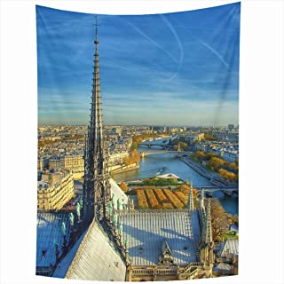 Ahawoso Tapestry 60x80 Inch Architecture Textures Steeple Travel Notre Dame City View Impressive Vacation Paris HDR Eiffel Tower Attraction Tapestries Wall Hanging Home Decor Living Room Bedroom Dorm