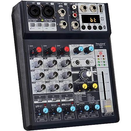 Depusheng DE8 Mini table de mixage DJ son 8 canaux Console de réverbération Table de mixage de carte son USB Table de mixage audio d'effet DSP pour l'enregistrement sur ordinateur, bandes