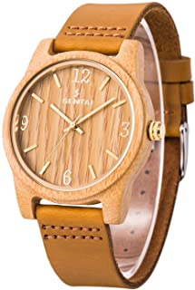 Sentai Natural Wooden Watch, Genuine Leather Strap, Handmade Lightweight Quartz Watches, Unisex Wrist Watch