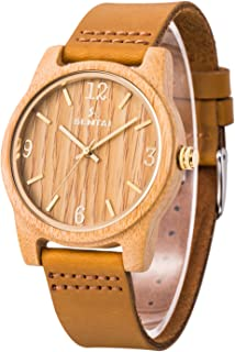 Sentai Natural Wood Watch, Genuine Leather Strap, Handmade Quartz Watches, Zebra Wood Men's Women's Wrist Watch