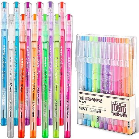 Set di 24 penne gel colorate con 12 penne gel glitterate e 12 penne gel neon per bambini schizzi. disegni penne da colorare per adulti libri da colorare per scrivere