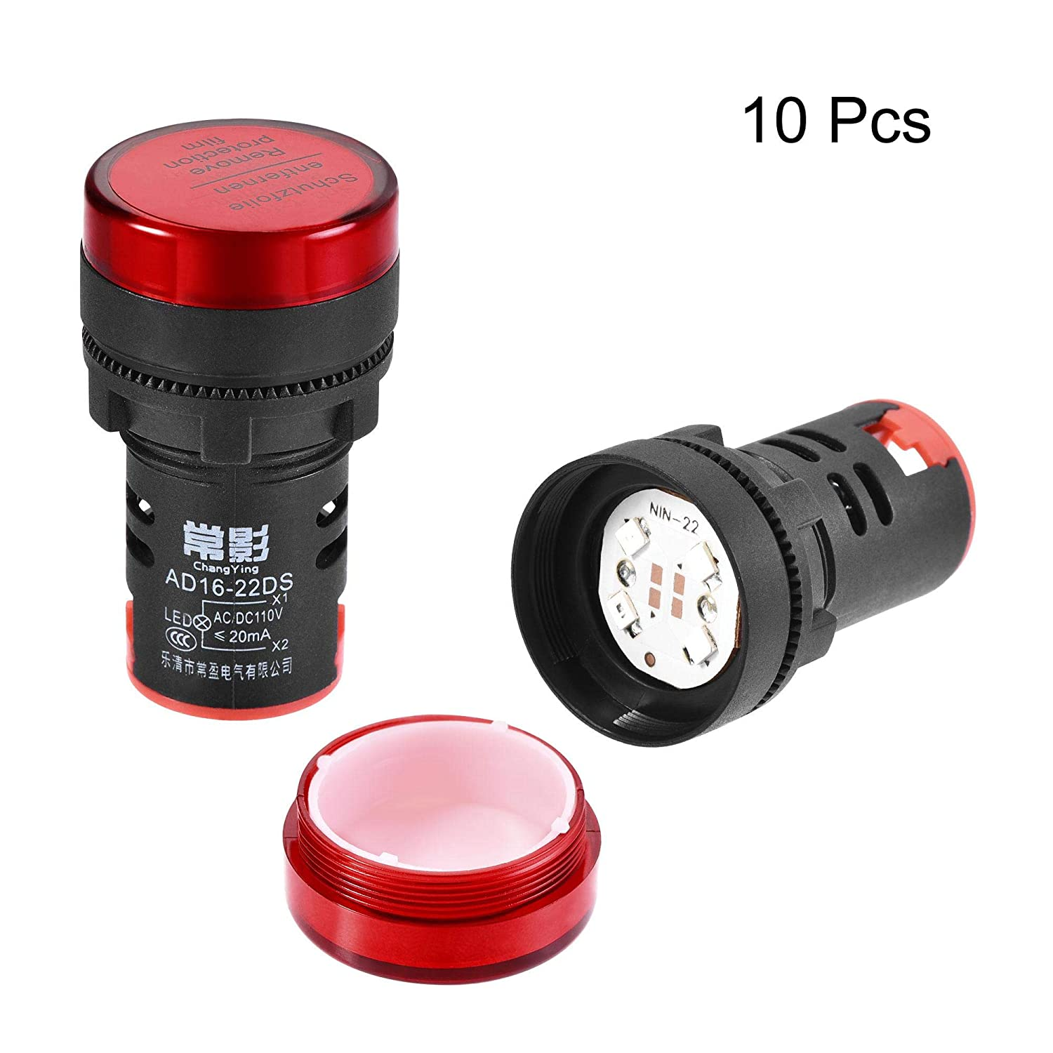 22mm Mounting Hole Blue LED Color Dust Cover IP54 uxcell AC//DC 110V Indicator Lights Pack of 10 for Electrical Control Panel Power Box Switch Cabinet DIY Projects