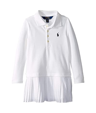 Polo Ralph Lauren Kids Pleated Knit Polo Dress (Toddler) (White) Girl