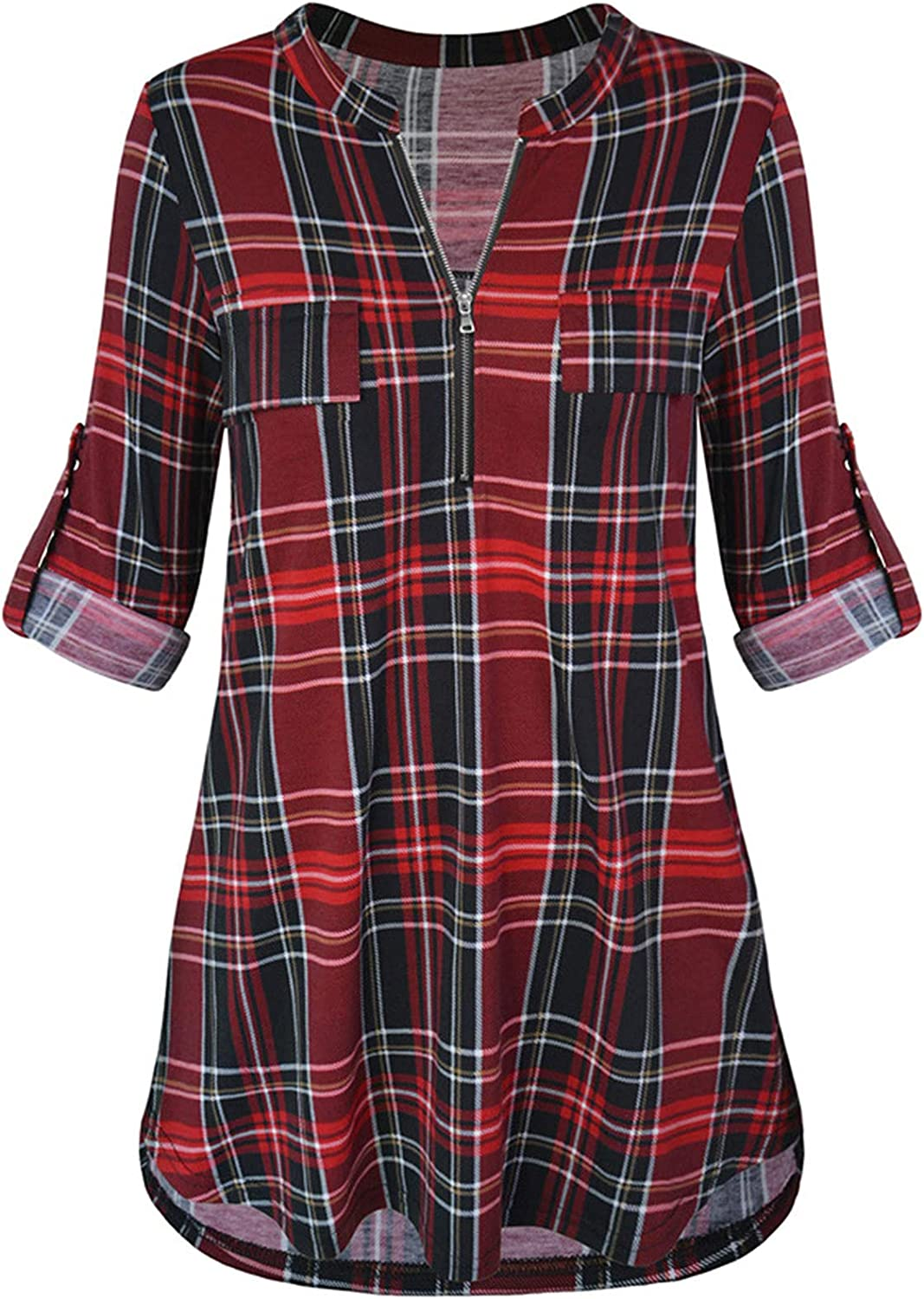 Women's Plaid 3/4 Sleeves Plaid Shirts Zip Roll up Sleeves Blouses Casual Work Loose Hem Tunic Blouse Tops
