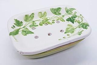 Portasapone con Scolo Linea Edere Ceramica Realizzato e dipinto a mano Le Ceramiche del Castello Made in Italy