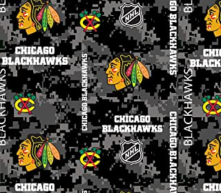 Chicago Blackhawks Fleece Blanket Fabric-Digi Camo Design-Sold by The Yard