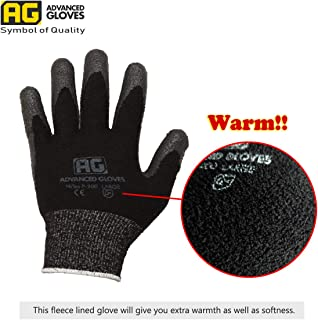 AG NiTex P-200-W, 6 Pairs, Winter Work Gloves, Fleece-Feature Lined Gloves, Nitrile Foam Coated (Large)