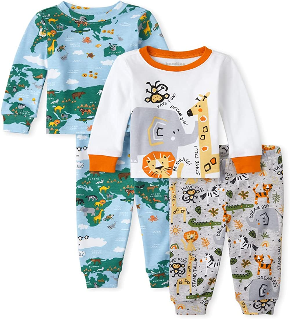 The Children's Place Baby and Toddler World Safari Snug Fit Cotton 4-Piece Pajamas