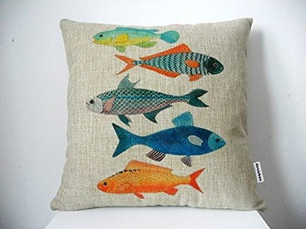 Decorbox Cotton Linen Square Decorative Fashion Throw Pillow Case Cushion Cover 18 X 18 Colorful Fish