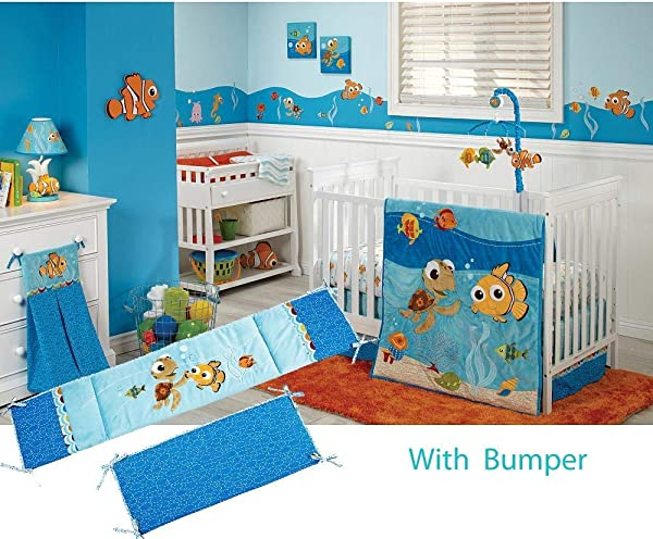Disney Baby Finding Nemo 5 Piece Crib Bedding Set W Bumper