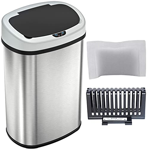 SensorCan OS13FG Automatic Touchless Sensor Kitchen Trash Can with Odor Filter Kit, Oval Shape, 13 Gallon, Stainless Steel