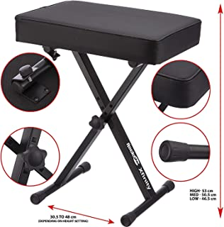 RockJam KB100 Adjustable Padded Keyboard Bench, X-Style,...