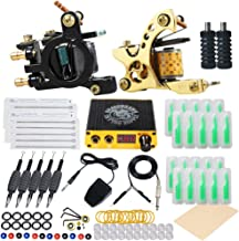 Dragonhawk Starter Complete Tattoo Kit Liner Shader Coils Tattoo Machines Power Supply Foot Pedal Needles SAN-2