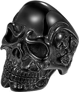 Oidea Anello Uomo acciaio inossidabile Fidanzamento Cranio stile Punk Rock nero,misura da scelta