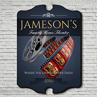 Family Movie Time Personalized Home Theater Sign (Custom Product)