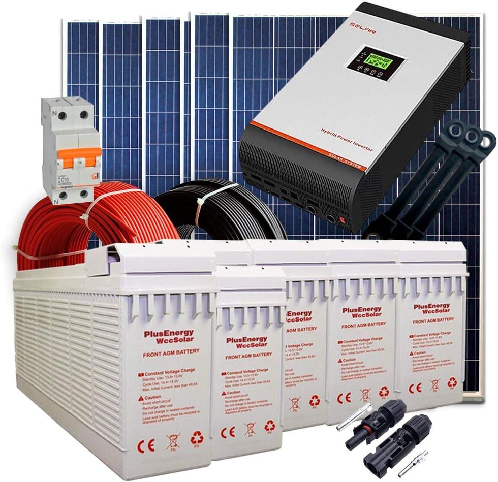 Kit Solar 24v 1500w/7500w día Batería FT-250Ah Inversor Multifunción 5kva Regulador MPPT 80A