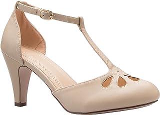 Olivia K Women's Low Heels Mary Jane Pumps - Adorable Vintage Shoes- Unique Round Toe Design with an Adjustable T Strap