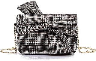 FengheYQ Women's Bags Canvas Crossbody Bag Lattice Pink/Gray Teenage Girl Bow Stripe Size:21 * 7 * 15cm (Color : Gray)