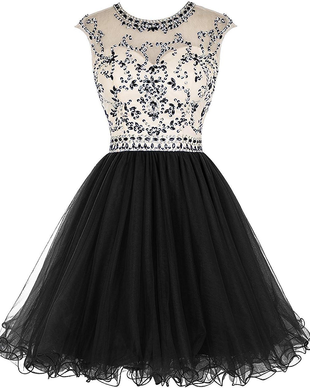 DianSheng Short Beading Prom Dress Tulle Evening Homecoming Party Dress CK167