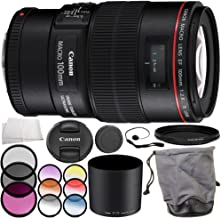 Canon EF 100mm f/2.8L Macro IS USM Lens Accessory Bundle – Includes Manufacturer Accessories + 3 Piece Filter Kit (UV + CPL + FLD) + MORE (Renewed)