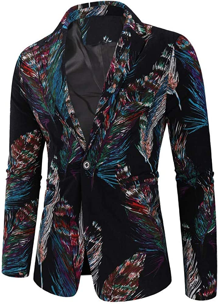 MODOQO Men's Fashion Dashiki Suit Slim Fit Blazer Tuxedo Dress Jacket for Party Prom