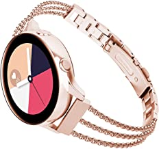 TOROTOP Compatible for Galaxy Watch 42mm Band Women/Galaxy Watch Active2 44mm 40mm Bands,20mm Rose Gold Metal Stainless St...