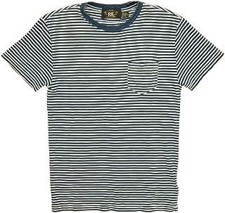 (ダブルアールエル) RRL インディゴ ストライプド ポケット Tシャツ 本藍染め インディゴ x ホワイト ボーダー Indigo Striped Pocket T-shirt 並行輸入品 [並行輸入品]
