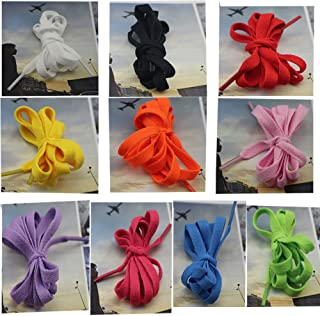"""Elife 20 Pairs 8mm 5/16"""" Width Flat Shoelace for Sneakers Boots Skateboard Hiking Athletic Sport Shoe (10 mixed color:2 pairs for each color) by Elife [並行輸入品]"""