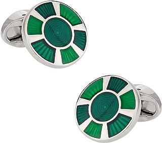 Round Green Enamel Cufflinks with Presentation Box