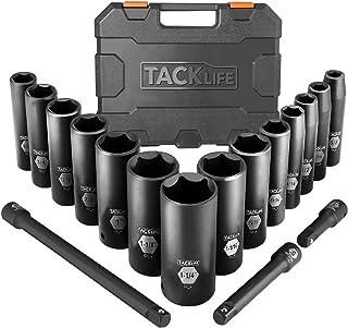 TACKLIFE Impact Socket Set 1/2-inch Drive SAE, 17pcs Drive Deep Impact Socket Set, 6..
