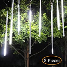 UBEGOOD Meteor Shower Lights, Falling Rain Drop Christmas Light, Waterproof LED Icicle String Lights for Holiday, Party, Wedding, Christmas Halloween Decoration (30cm/11.8in 8 Tubes 144 LED, White)