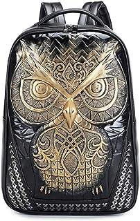 Pu Backpack Owl Waterproof Computer Bag Schoolbag 1,Gold