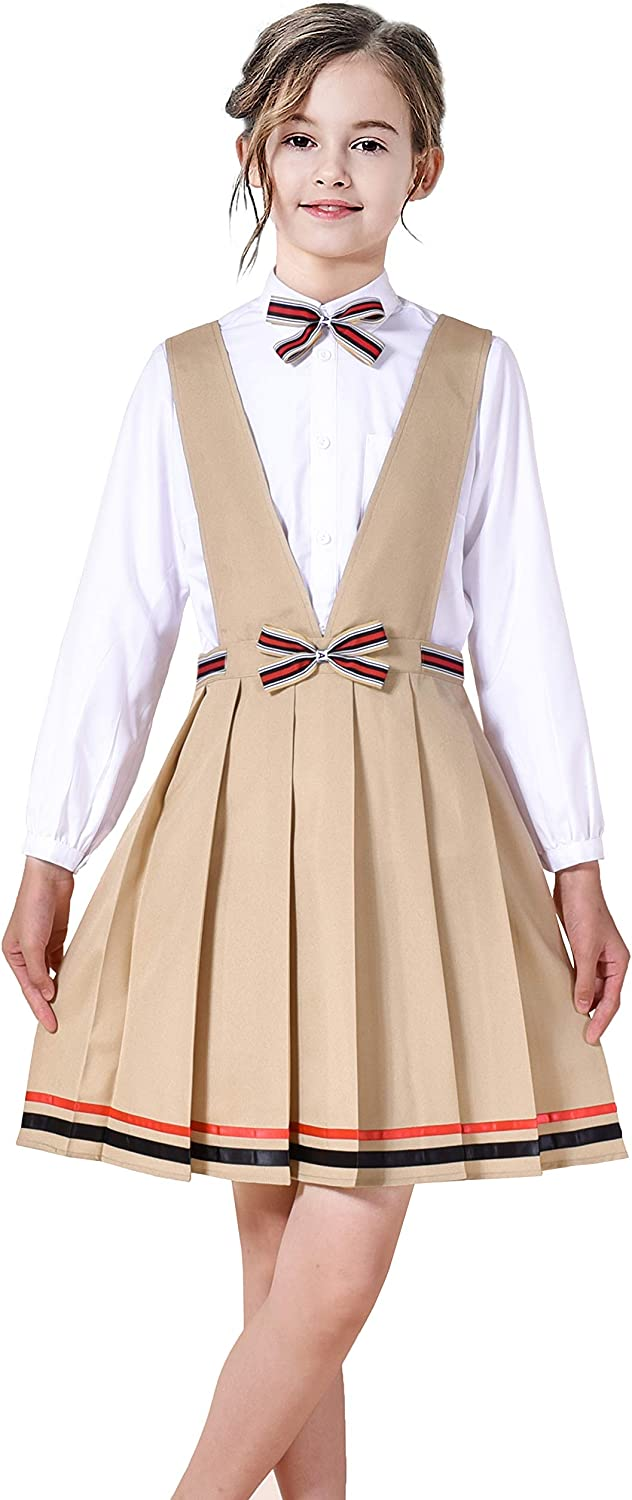 Sunny OFFicial mail order Fashion Girls Dress V Neck Pleated Size Hem Ranking TOP15 6-14 School