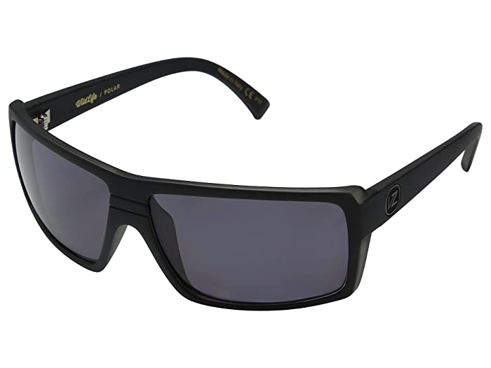 VonZipper Snark Polarized (Black Smoke Satin/Vintage Grey Wildlife Polarized Lens) Fashion Sunglasses