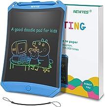 NEWYES Tableta de Escritura LCD 8,5 Pulgadas, Pantalla Colorida, con Tecla de Bloqueo, Imanes, Lápiz, Ideal para Niños y Adultos Uso en el Hogar, la Escuela y la Oficina (Azul)