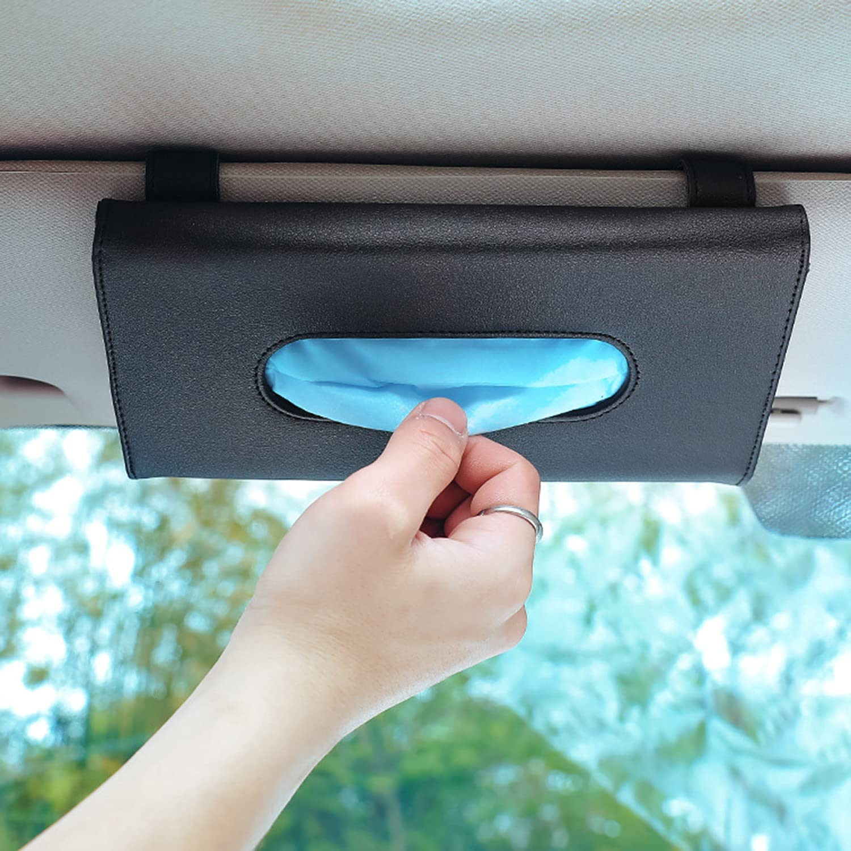 Car Sun Visor Organizer Tissue Box Holder Black PU Leather Mask Holder for Car and 2 Pack Bling Car Seat Hook Backseat Car Tissue Holder