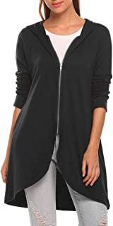 Women's Long Zip Up Hoodie Light Oversized Thin Tunic Hooded Sweatshirt Jacket