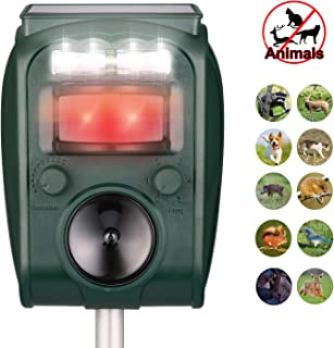 Ultrasonic Repeller, Solar Powered Waterproof Outdoor Animal Repeller with Ultrasonic Sound,Motion Sensor and Flashing Light Repeller for Cats, Dogs, Squirrels, Moles, Rats
