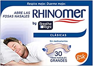 comprar comparacion Rhinomer by Breathe Right - Tiras nasales clásicas para la congestión nasal, tamaño grande - 30 unidades, Tono Claro