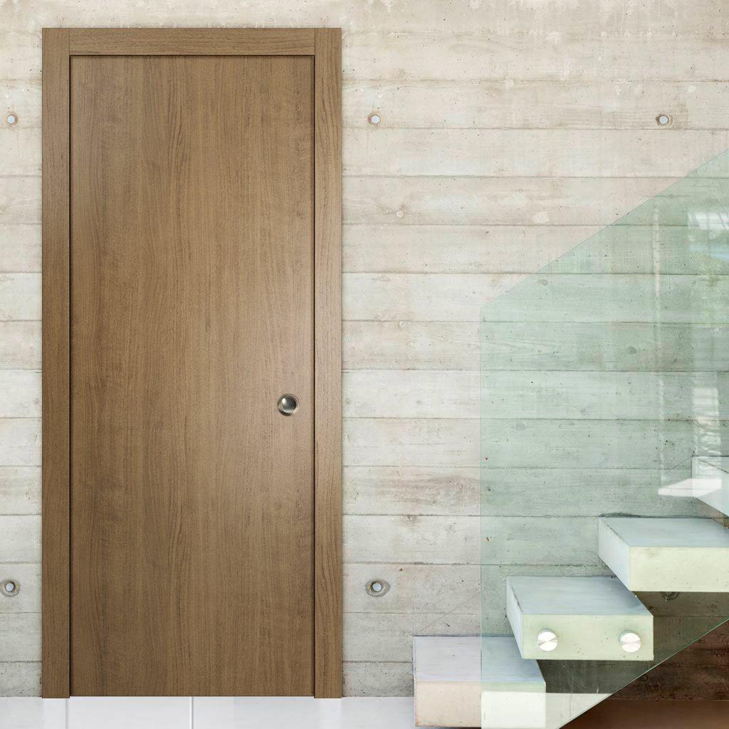 Moderna puerta corredera de bolsillo | Planum 0010 nogal ahumado | marco de bolsillo recorte tiradores Track Hardware Set | madera maciza interior Slide puerta de armario |: Amazon.es: Bricolaje y herramientas