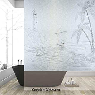 3D Decorative Privacy Window Films,Seascape Sketch with Boat Palm Tree and Lighthouse Coastal Hand Drawn Artwork,No-Glue Self Static Cling Glass film for Home Bedroom Bathroom Kitchen Office 36x48 Inc