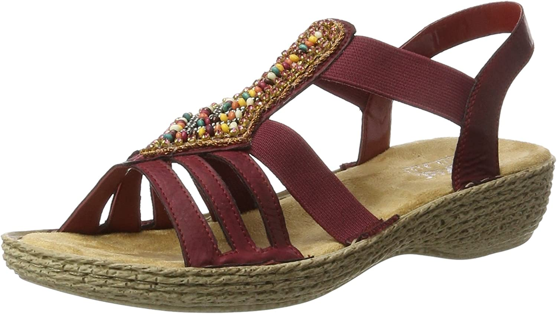 Rieker Damen 65841 Offene Sandalen mit Keilabsatz  | Bestellungen Sind Willkommen