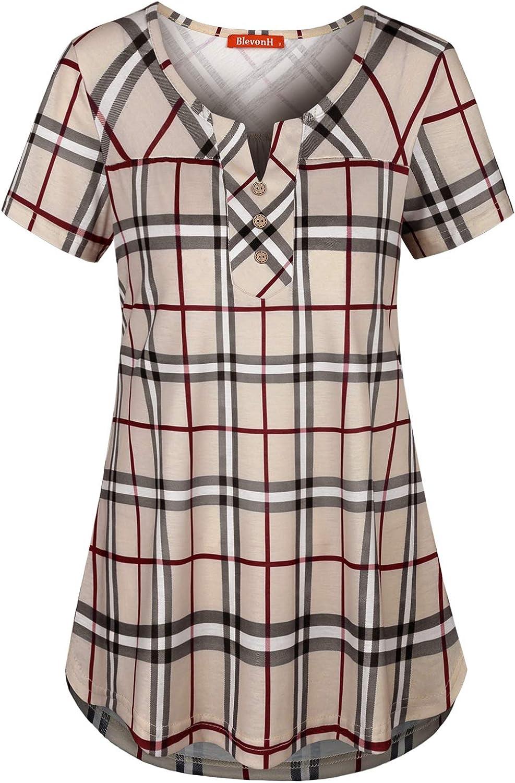 Blevonh Womens Short Sleeve Split V Neck Plaid Shirt Casual Henley Tunic