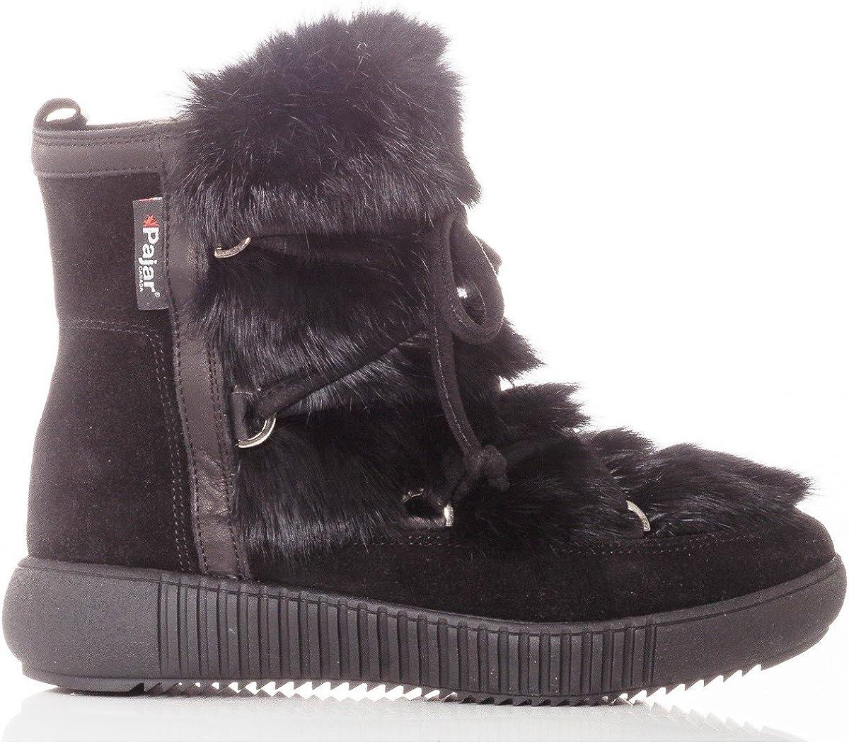 Pajar Women's Anet Suede & Rabbit Fur Winter Boots Black Size 36 EU/5-5.5 US