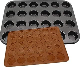 Moule à muffins et combinaison de ustensiles de cuisson Macron en silicone, moule à pudding, moule à cupcake, moule à pâti...