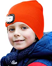 onehous Gebreide kindermuts met ledlamp, warm houden, dimbaar, oplaadbare USB-koplamp, geweldig cadeau voor jongens en mei...